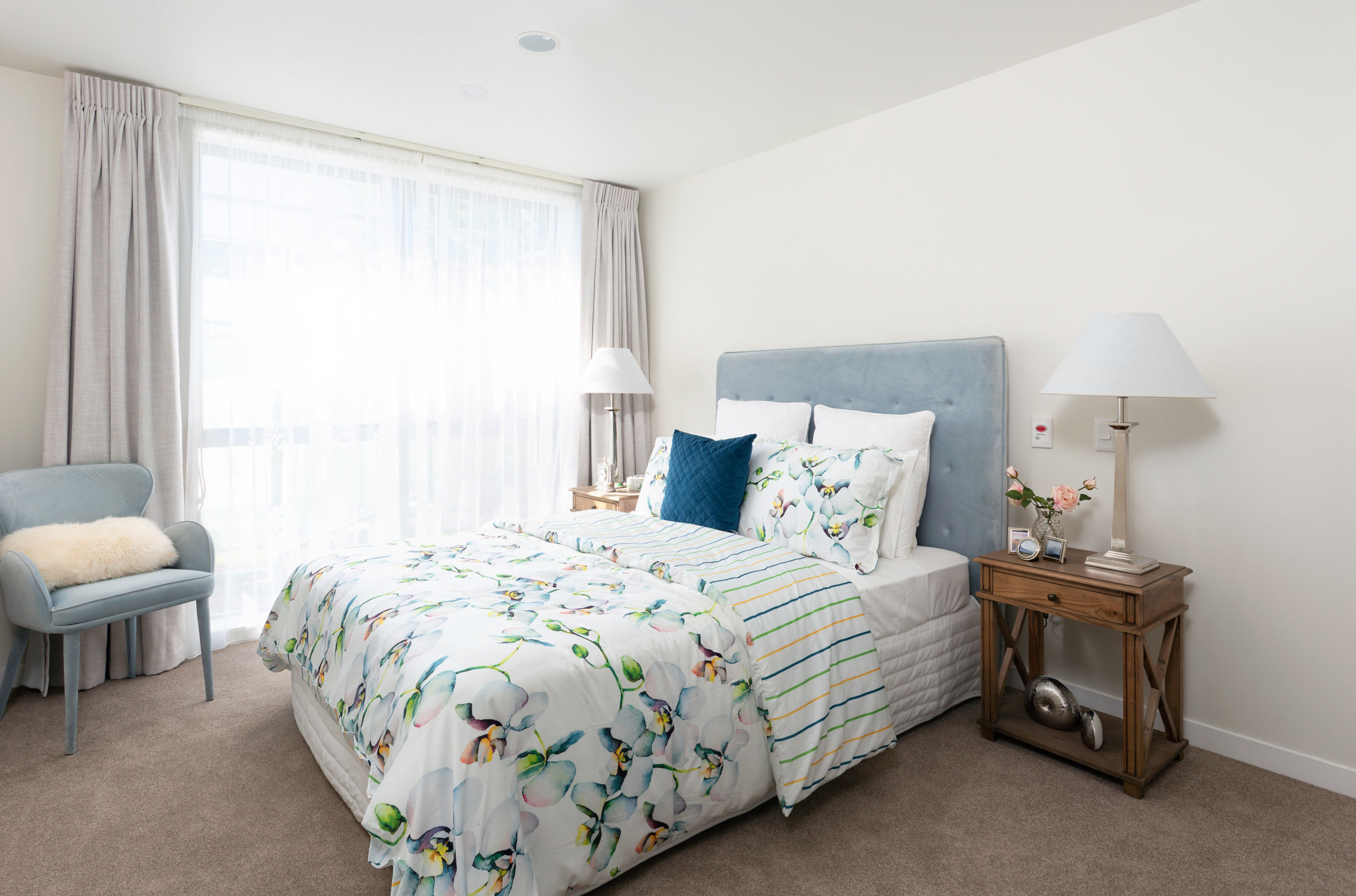 The Bayview apartment bedroom with double bed