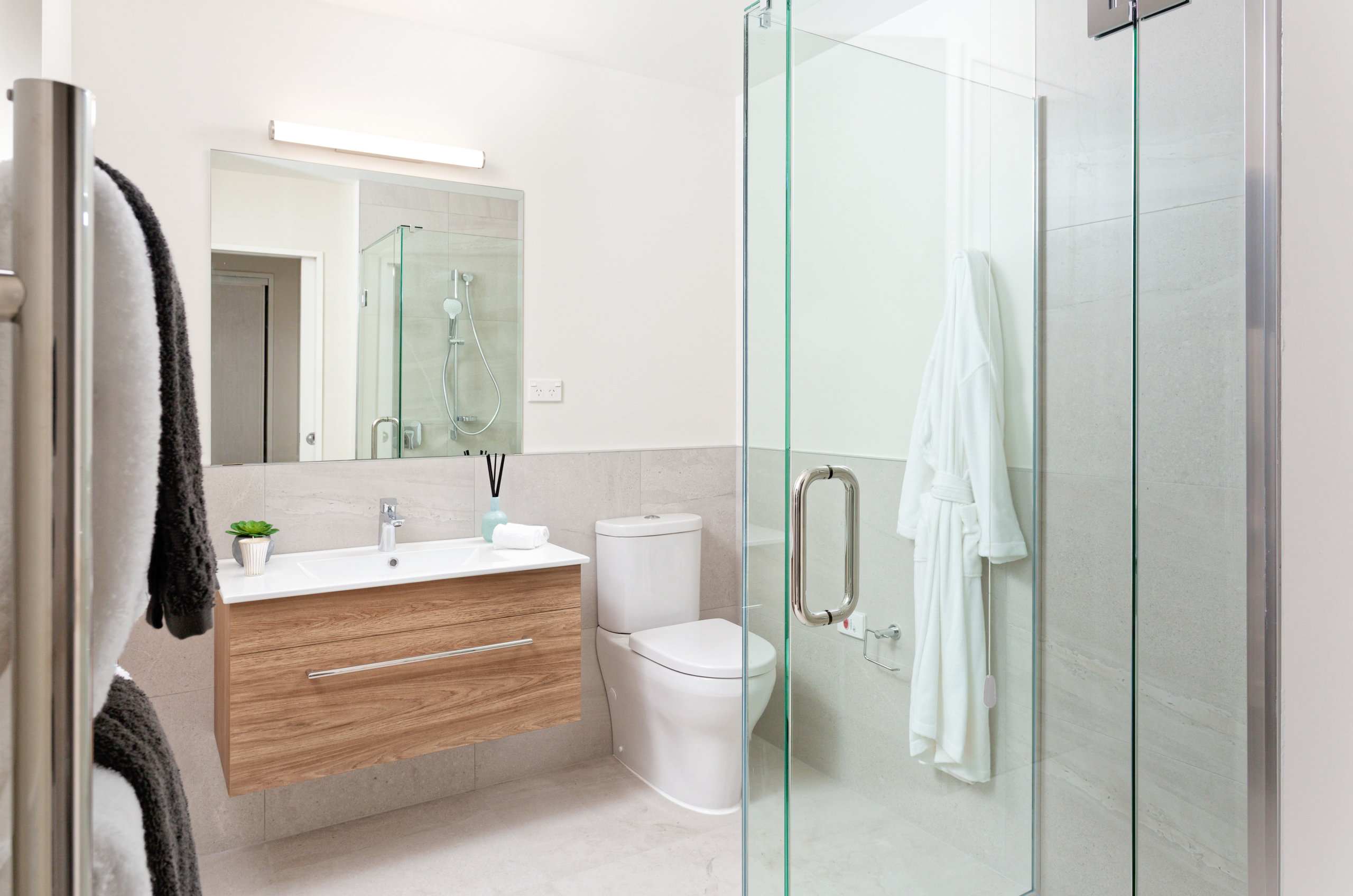 The Bayview bathroom with shower and toilet