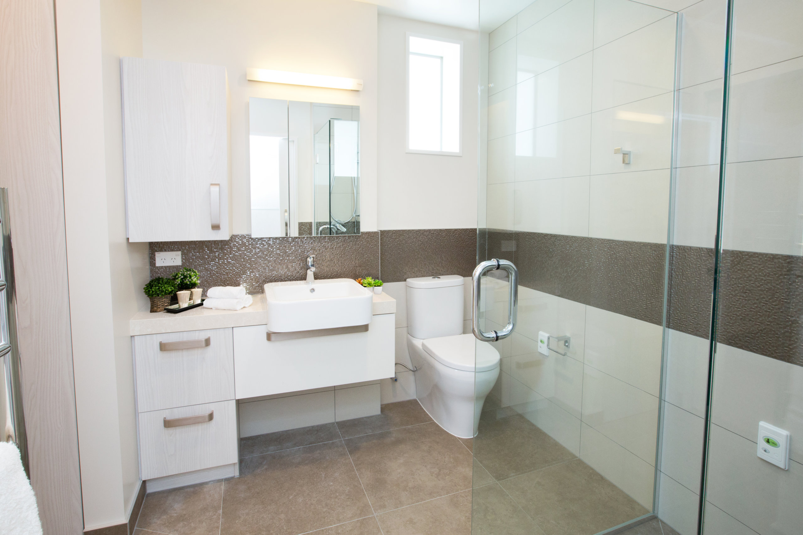 Meadowbank apartment bathroom with shower and toilet