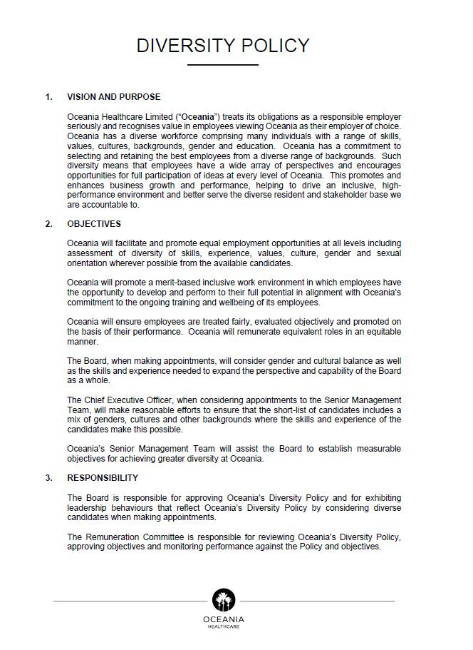 Diversity Policy Document