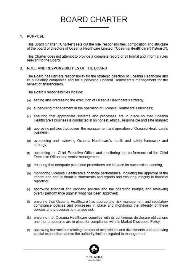 Board Charter document