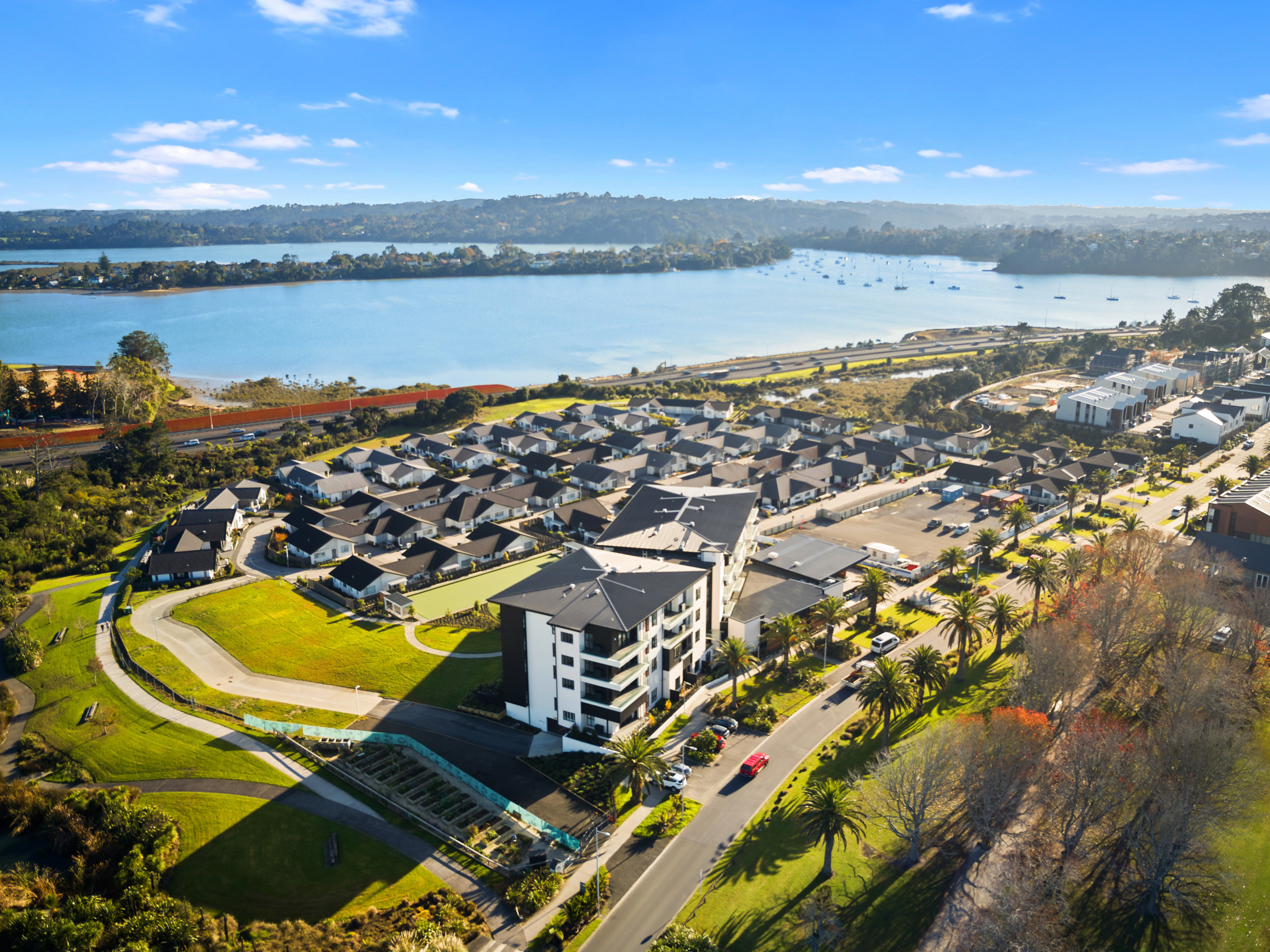 Waterford retirement village and Hobsonville Point aerial view