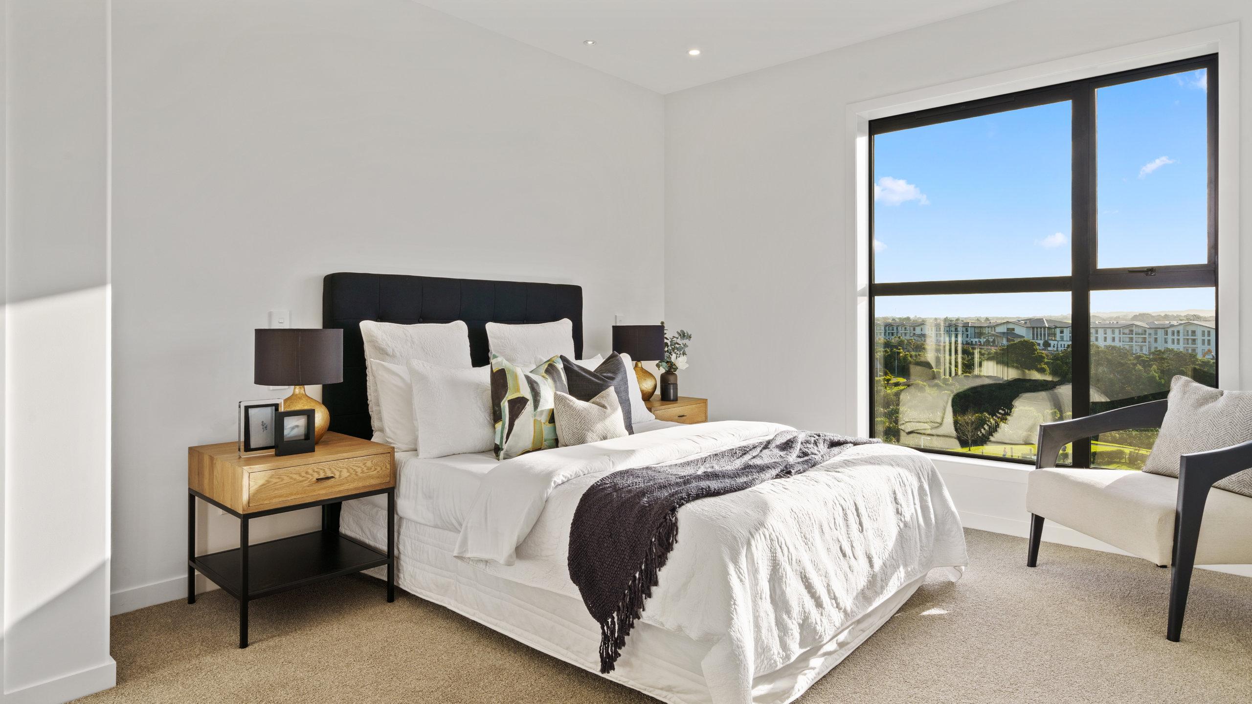 Waterford retirement village luxury apartment bedroom