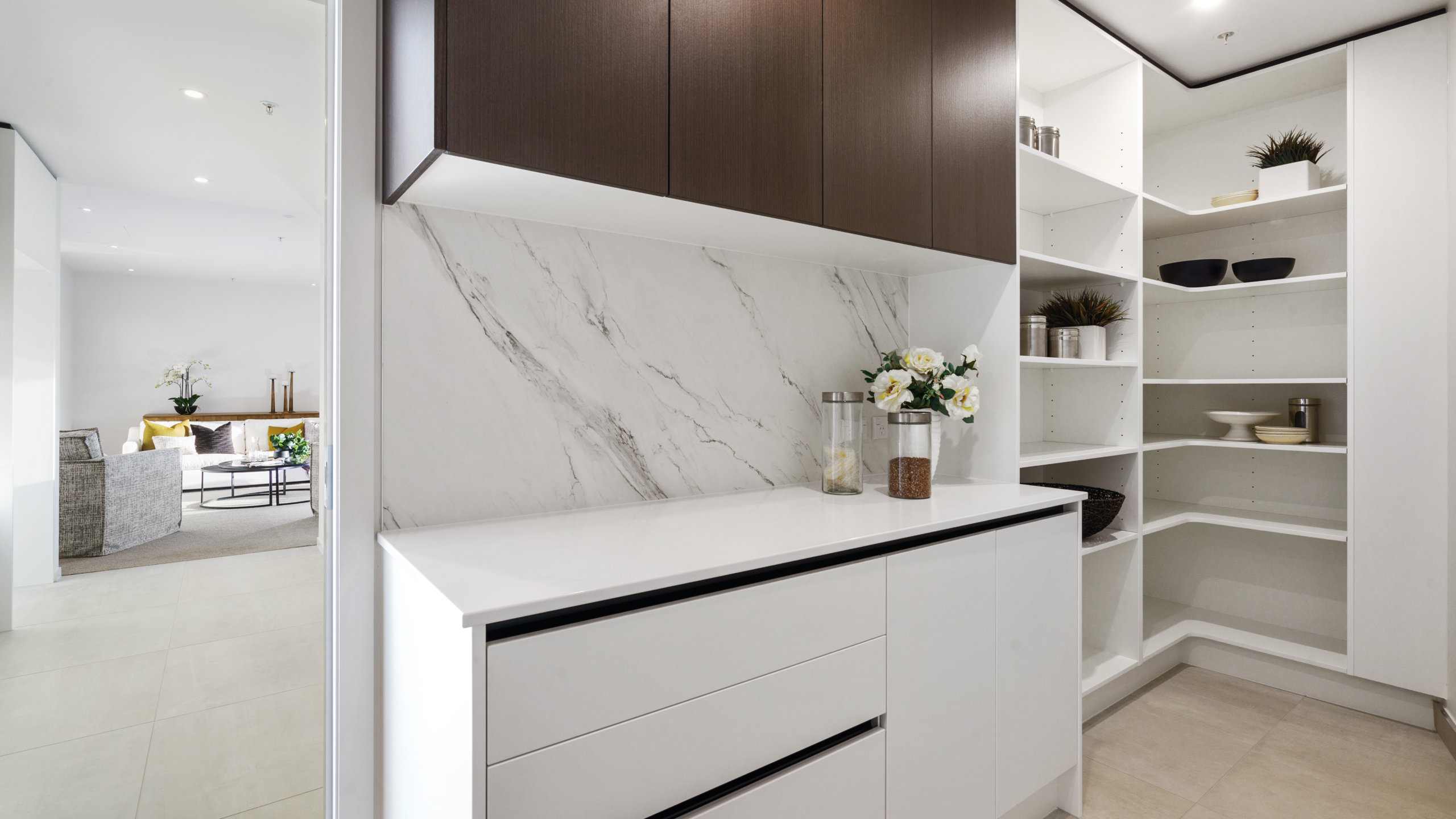 Waterford retirement village luxury apartment kitchen pantry
